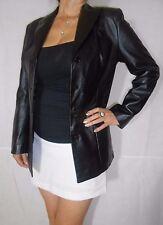 Chaqueta de Abrigo Corto Negro De Mujer Suave Cuero Real 4 Botones Pelle Moda Talla 12