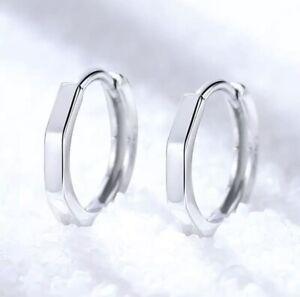 925 Sterling Silver Plain Shaped 15mm Hinged Huggie Hoop Earrings