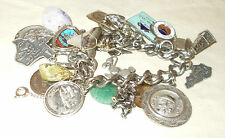 VINTAGE CHARM BRACELET-FILLED WITH CHARMS-MANY STERLING PIECES-FREEPORT,TEXAS++
