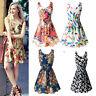 Women Summer Beach Chiffon OL Floral Pleated Tank Sundress Sleeveless Mini Dress
