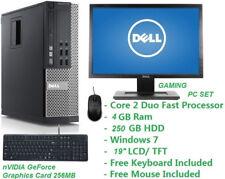"Cheap Gaming PC Set Intel Core 2 Duo 2.0GHz 4GB RAM 250GB HDD Wifi Win 7 19"" LCD"