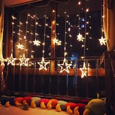 184LEDs 16 Icicle Star Curtain Lights, Warm White, Steady-on, Christmas,Holidays