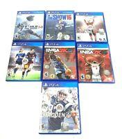 Lot of 7 PS4 Playstation 4 Sports Games MLB, Madden, NFL, NHL, NBA2K, FIFA