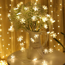 10M 100 LED String Remote Snowflake String Wire Fairy Lights Xmas Party Decor