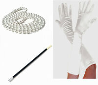 1920s Fancy Dress Charleston Flapper Beads Cigarette Holder Long White Gloves