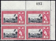 JAMAICA 1955 QE2 Founding 6d red Block4 with plate.no. MNH @B497