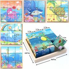 Wooden Cube Blocks For Kids Toddler Educational Play Toy Puzzle. - Sea Creatures