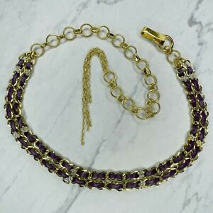 Gold Tone Purple Faux Leather Woven Belly Body Chain Link Belt OS One Size