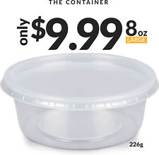 Food Storage Containers | 15 Pack 8oz Leakproof Plastic Storage Cups w/ Lid