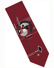 Frank Lloyd Wright Fireplace Relief Silk Tie 3 - Red