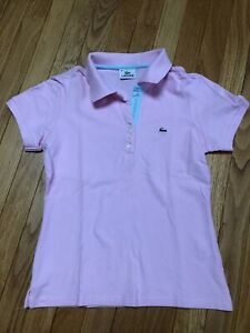Women's Pink Lacoste Polo Size 40(Small/Medium)