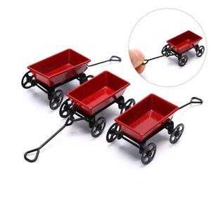 1:12  Dollhouse Miniature Garden Metal Red Cart Toy Ornament Home Decor GifSEBI