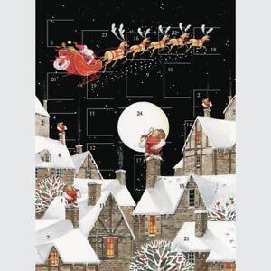 Traditional Santa Moonlight Advent Calendar - 24 Doors Glitter Finish Christmas
