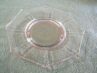 Pink Depression Glass 8 Inch Octogon Plate, Nice for the Age, No Cracks,No Chips
