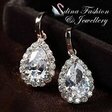 18K Rose Gold Plated AAA Grade Cubic Zircon Sparkling Water Drop Dangle Earrings