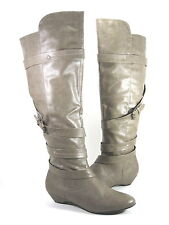 MADDEN GIRL WOMEN'S ZIPPEDD WEDGE BOOT TAUPE SYNTH US SZ 9 MEDIUM (B)M PRE-OWNED