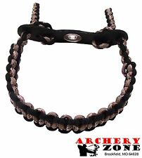 Desert Camo & Black Bow paracord wrist sling strap w/ Leather yoke Archery