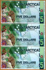 LOT, Antarctica, 3 x $5, Polymer, 2011, NEW, UNC SPC Britannia