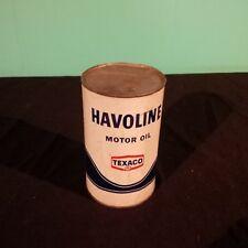 Vintage TEXACO HAVOLINE  imperial quart Motor oil can FULL