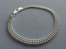 "7"" STERLING SILVER BRACELET- 3 ROW BEAD -MADE IN ITALY 925"