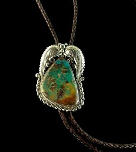 Large Native American Sterling and Turquoise Bolo