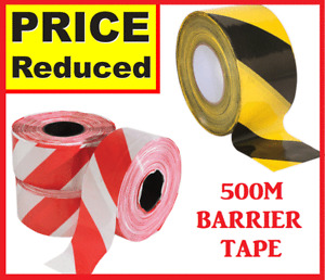 HAZARD WARNING BARRIER TAPE ROLL NON ADHESIVE YELLOW/BLACK  RED/WHITE 72MM x500m