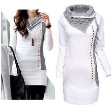 Damen Longshirt Strickpullover Tunika Langarm Pullover Pulli Top Weiß Gr 34-40