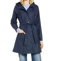 Halogen NWT Size XS Waterproof Hooded Rain Jacket Navy Blue Belted Womens