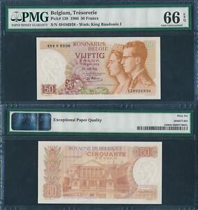 Belgium 1966 50 Francs Trésorerie Baudouin P139 PMG66 EPQ Gem UNC RARE