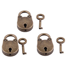 3 pcs Alloy Old Vintage Antique Style Mini Archaize Padlocks Hang Lock With Key
