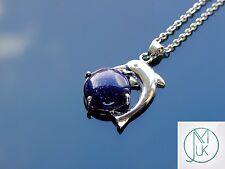 Blue Goldstone Dolphin Manmade Gemstone Pendant Necklace 50cm Healing Stone
