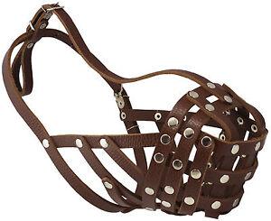 """Secure Genuine Leather Dog Mesh Basket Muzzle 13-3"""" snout English Bulldog Boxer"""