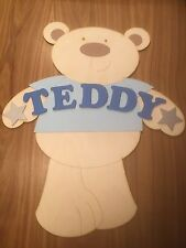 Personalised Wooden Name Plate Children Door or Wall Sign Light Blue Teddy Bear