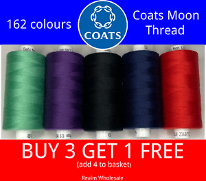 Coats Moon Polyester Sewing Thread 1000 Yard Reels Hand/Machine All Colour's