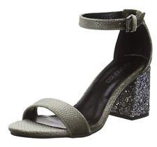 BN Boohoo Glitter Heel Sparkly Sandals Size 4 grey Velvet Snake Summer Evening
