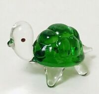 Vintage Miniature Green Turtle Figure Figurine Art Glass Sculpture