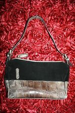 NUOVEDIVE Italy Genuine Leather Black with Croc Print Handbag Purse Shoulderbag