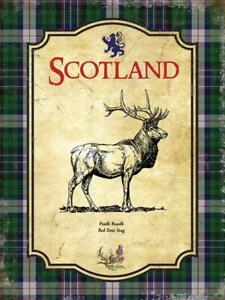 Scotland Red Deer Stag Scotch Tartan Thistle Medium Metal/Steel Wall Sign