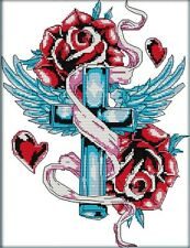 Rose Cross. 14CT counted cross stitch kit. Craft brand new.