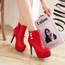Womens Stiletto Zip High Heel Platform Ankle Boots Party Shoes AU Plus Size 2-13