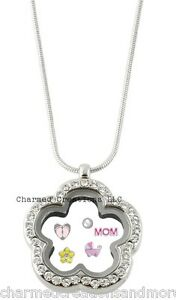 CZ Silver Tone Flower Clover Floating Charm Memory Locket Necklace & Long Chain
