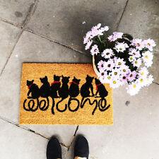 Gato Negro Fibra De Coco Felpudo Divertido texto de bienvenida a PVC Antideslizante Alfombra de entrada piso Mat