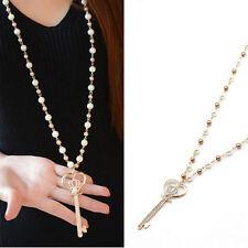 New Pearl Crystal Rhinestone Key Pendant Long Chain Necklace Fashion Jewelry