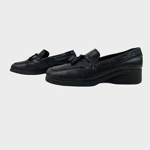 CLARKS Ladies Womens Shoes Size UK 3 EU 36 Black Leather Loafer Comfort Heels