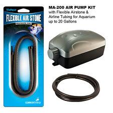 """MA-200 AIR PUMP w/24"""" Flexible Airstone-Airline Tubing for Aquarium up to 20 Gal"""