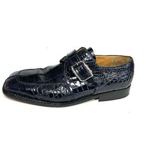 Vintage David Eden Men's Monk Strap Loafers Blue Alligator Square Toe Size 11.5