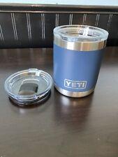 New! Yeti Rambler Low Ball Tumbler 10 oz Mug With Lid Plus Slide Lid - Navy