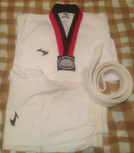 Karate Tae kwon do Uniform Gi White Youth Size 0 Red Black SET Top Pants Belt
