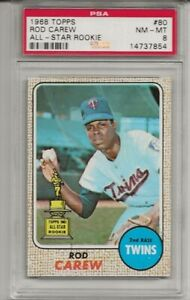 1968 TOPPS #80 ROD CAREW, PSA 8 NM-MT, SET BREAK - ALL-STAR ROOKIE , HOF, TWINS