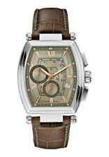 NEW GUESS COLLECTION MEN'S STAINLESS STEEL BROWN LEATHER RETRO WATCH Y01002G1